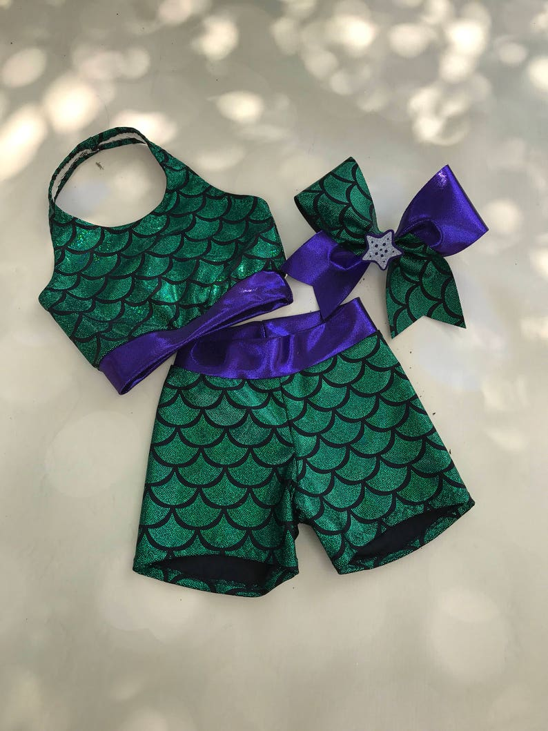 987c5a03a893a The Emerald Green Mermaid sports bra Shorts and
