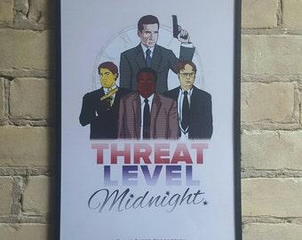 Threat Level Midnight / The Office print / 11 by 17 / fan art tribute / Michael Scott, Dwight Schrute, Darryl Philbin, Jim Halpert