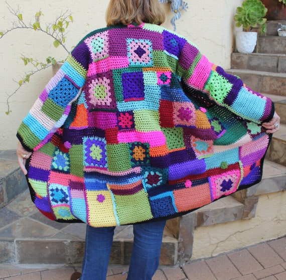 Häkeln Sie Oma Platz Mantel Jacke strukturierte Jacke | Etsy