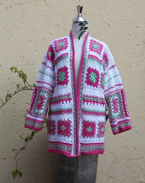 cheaper 3cd4e 29ef0 Cardigan primavera, abuela cuadrado chaqueta, chaqueta de ganchillo,  chaqueta, capa de cuadrados de la abuela, figura más completa, chaqueta  hecha a ...