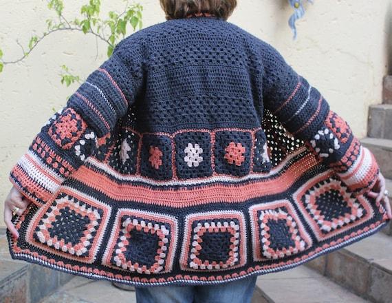 Oma Quadrat häkeln Jacke häkeln Boho Jacke Damen Jacke | Etsy