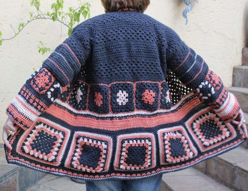 Nonna Quadrati Alluncinetto Giacca Giacca Crochet Boho Etsy