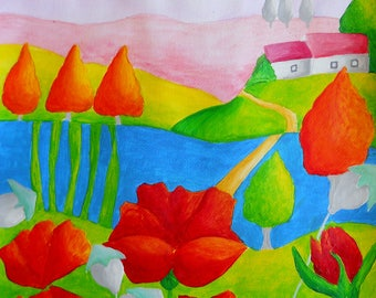 Fabulous spring country with poppies - original painting from artist Peter Vamosi