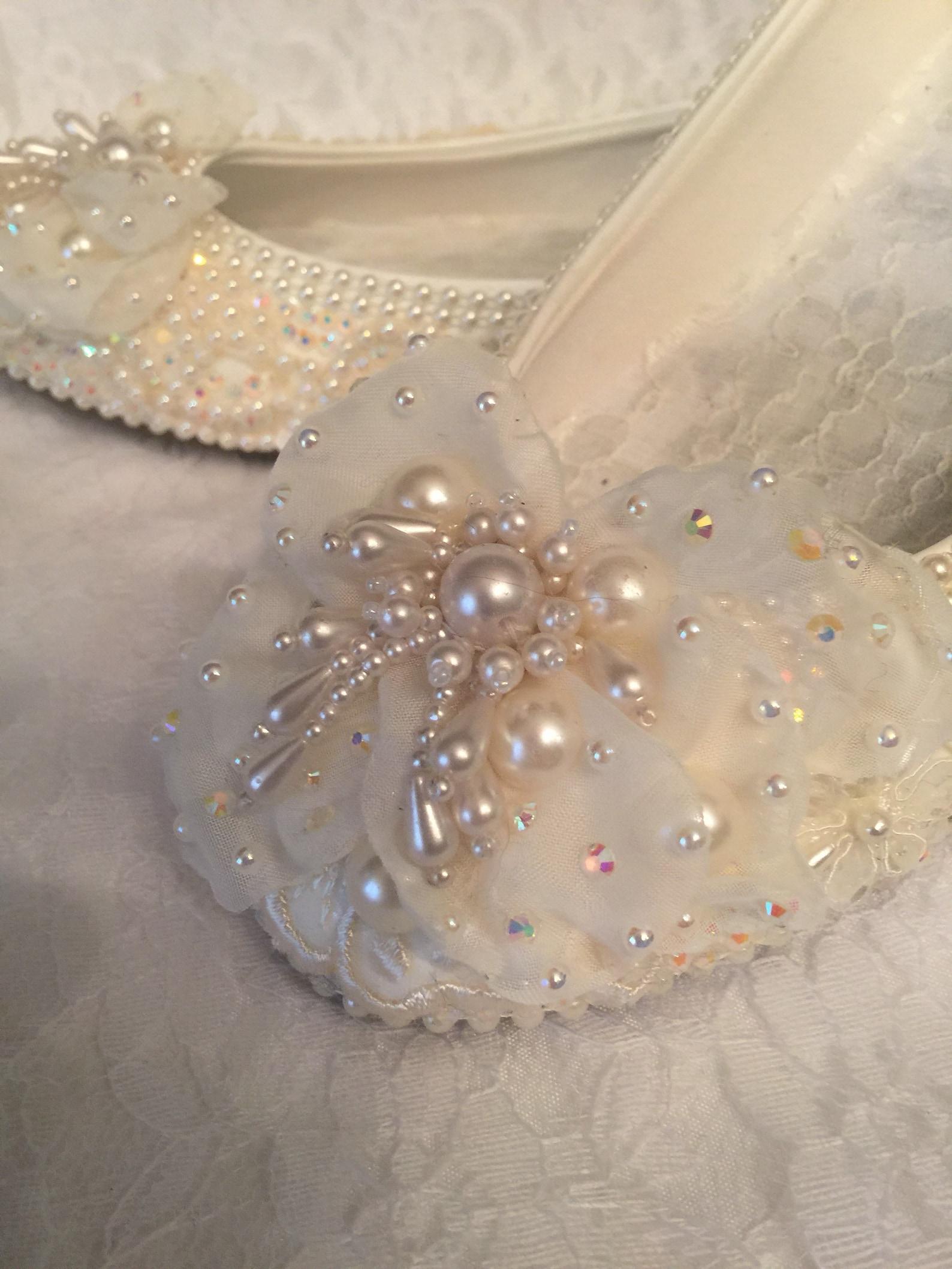 wedding shoes bridal ballet flats beaded rhinestones hand embellished, size 5-13