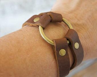 Leather Riveted X Bracelet