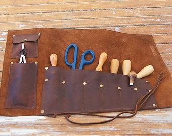 Multi-Use Leather tool roll, large leather tool roll