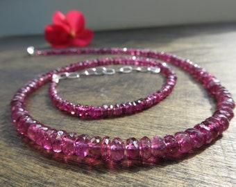 c866ce9d1dac RK1 Fabelhafte Pink Turmalin Edelstein Kette Rubellit Turmalin Collier  Natürlicher unbehanderlter Edelstein facettiert Silber 925 Verschluss