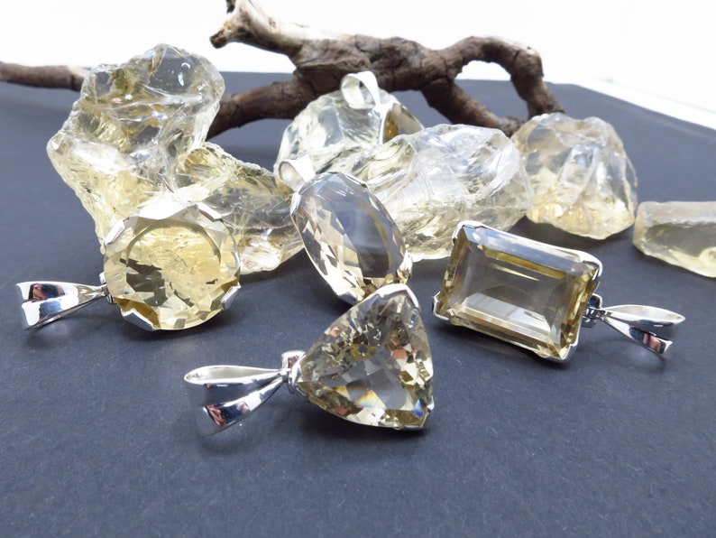 Natural untreated CA3 citrine gemstone handmade pendant set in 925 Sterling Silver faceted Braszil 100/% untreated not burnt yellow natural