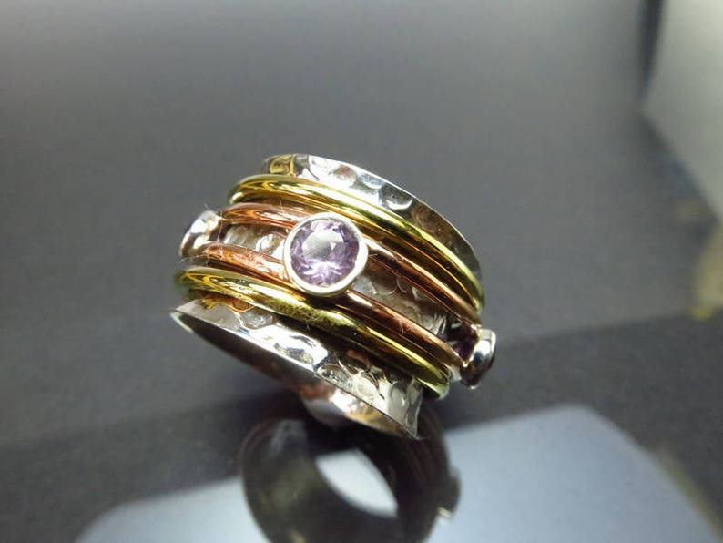 925 Sterling Silver Spinner Band Rings for Women Anxiety Ring for Meditaion Gift Ring for Christmas Amethyst Spinner Band Rings