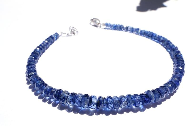 Kyanite bracelet gemstone faceted beads KY4 disthene  handmade  natural  gift birthday blue Disthene natural stainless steel