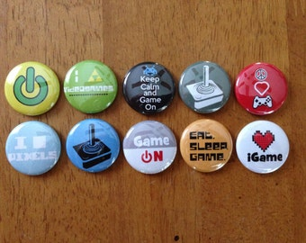 Video Game Buttons Pinback Button Set of 10