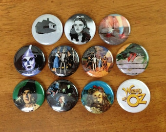 Wizard of Oz Buttons Pinback Buttons Set of 11, OZ, Wizard of Oz