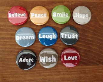 Motivational Words Button Set of 10 Pinback Buttons, Inspiration, Inspirational, Motivational