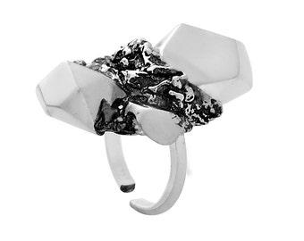 Big Silver Ring, Nugget Ring, Designer Ring, Statement Ring, Faceted Ring, Big Ring, Silver Statement Ring, Faceted Jewelry, Nugget Jewelry
