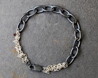 Silver Chain Bracelet, Oxidized Chain Bracelet, Crochet Silver Bracelet, Black Bracelet, Big Silver Chain, Dark Fashion, Oxidized Jewelry,