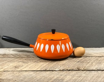 Vintage 1970s ORANGE made in Japan Fondue Pot Sauce Pot enamelware with stand