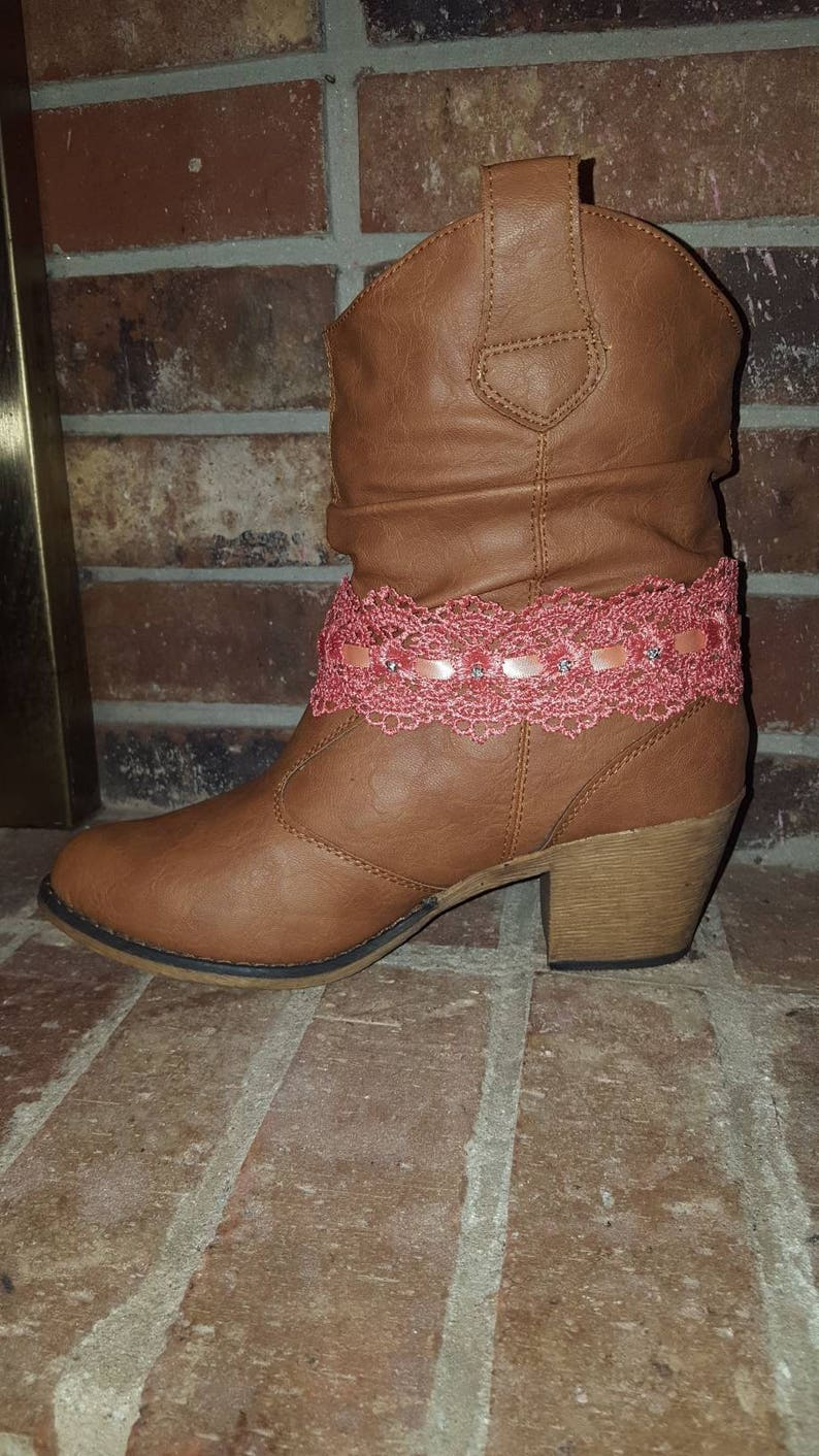 Grandma/'s Lace Antique Style Pink Bohemian Boot Bracelet woth Crystals Ankle Jewelry Gift for Her