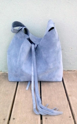 Suede leather boho tote bag in gray-blue