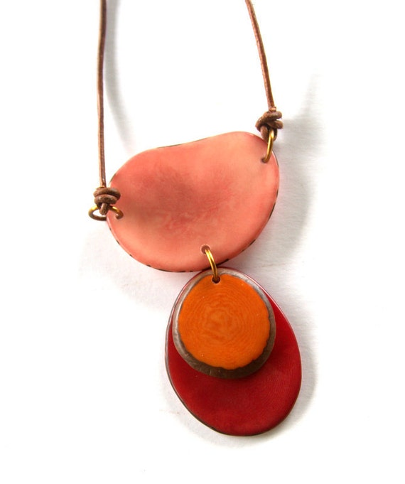 Colors of Joy Haiku Tagua Nut Pendant in Orange and Teal