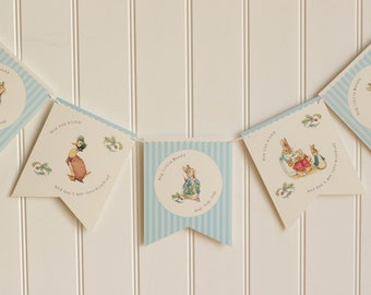 Beatrix Potter Assorted Characters Paper Bunting Banner Pennant Garland Nursery Baby Shower Party