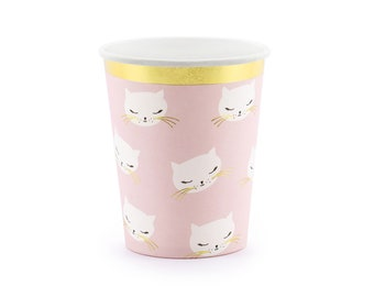 Pink Paper Party Cups with Cat Kitten Design x 6