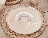 8 Pastel Rainbow Paper Plates, Gold Paper Plates, Hen Party Plates, Rainbow Birthday Plates, Baby Shower Party Plates, Happy Everything