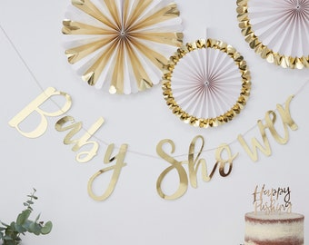 Gold Foil Banner Oh Baby Party Decor Decorations Gold Baby Shower Banner Gender Neutral Baby Shower Gender Reveal Script Bunting