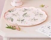 8 Pink Floral Rose Gold Party Plates, Botanical Plates, Team Bride Plates, Rose Gold Bridal Shower Paper Plates, Partea Tea Party Range
