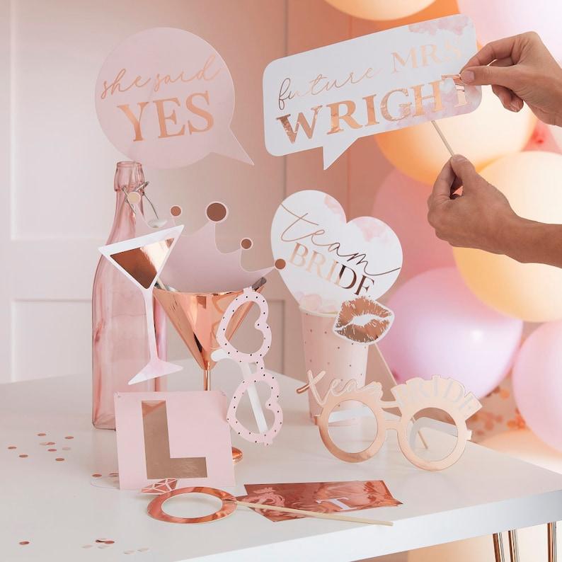 Bachelorette Party Plates Blush Pink Bridal Shower Paper Plates Bridal Shower Decoration 8 Rose Gold Pink Party Plates Team Bride Plates