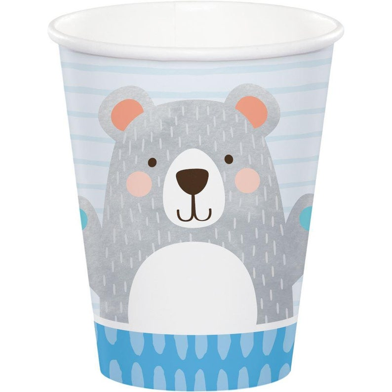 Kids Party Easter Party 8 Teddy Bear Paper Party Cups Blue 1st Birthday Paper Cups Childrens Party Cups Birthday Party Cups