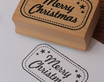 Merry Christmas Wooden Rubber Stamp With Stars And Border - Xmas Craft