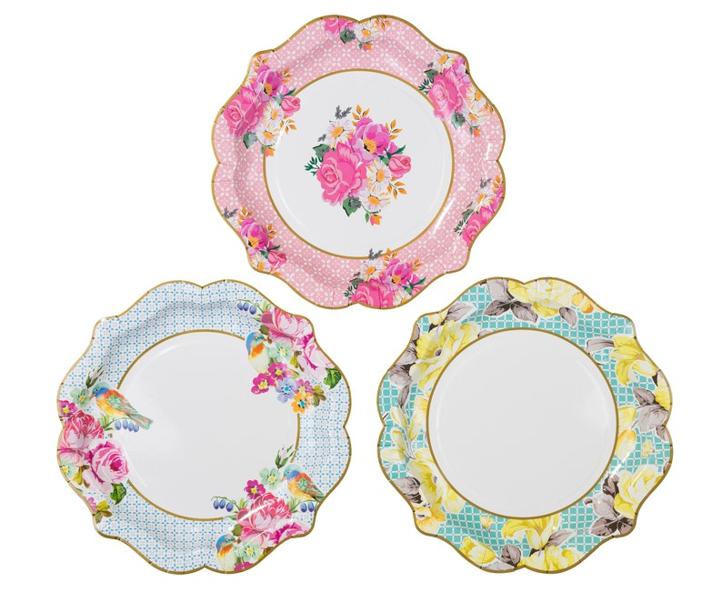 Floral Plates Vintage Floral Plates Wedding Partyware Afternoon Tea Party Plates 12 Alice In Wonderland Medium Paper Plate