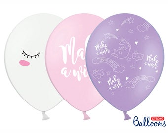Unicorn Party Balloons Make A Wish Birthday Set Of 6 In 3 Designs 30cm