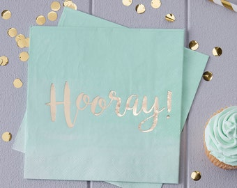 Mint Green Ombre Hooray Paper Paprty Napkins x 20 Birthday Baby Shower