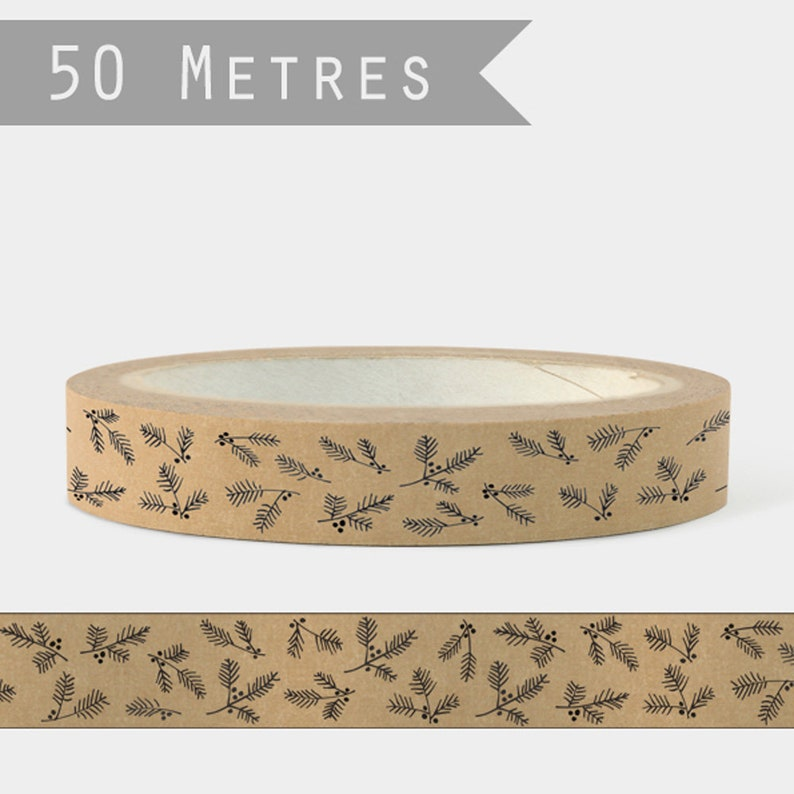 Christmas Craft Brown Tape With Fir and Berries Christmas Wrapping Gift Wrapping By East of India 50m
