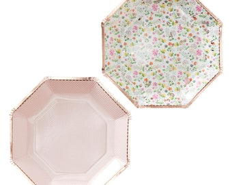 Ditsy Floral With Gold Foil Edge Paper Party Plates Pack Of 8