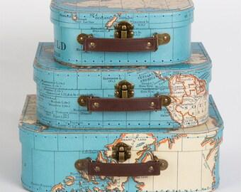 3 Vintage Map Mini Decorative Suitcases, Wedding Home Decoration, Home Storage Suitcases, Keepsake Cases, Lockdown Gift, Craft Storage