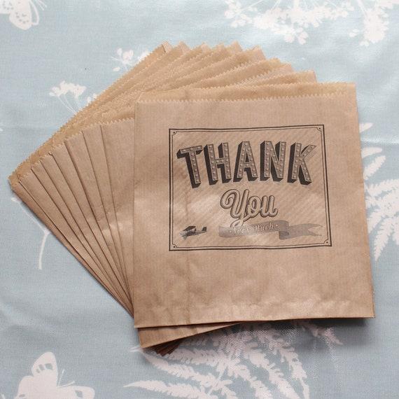 16 X 12 Custom Printed Kraft Paper Wedding Gift Bags: Kraft Brown Thank You Very Much Paper Bag X 10 Wedding