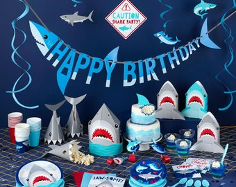 Shark Party Range, Boys Birthday Party, Jaws Party, Shark Tableware Supplies - Plates Balloons Cups Napkins