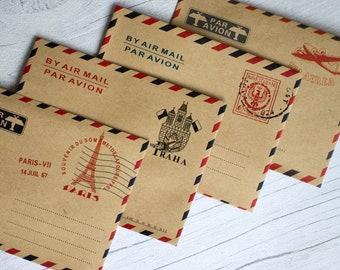 Mini Vintage Par Avion Airmail Envelopes x 40 - Favours / Scrapbooking Craft