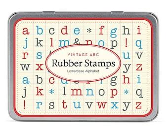 Cavallini Lowercase Alphabet Rubber Wooden Stamps Mini Set x 30