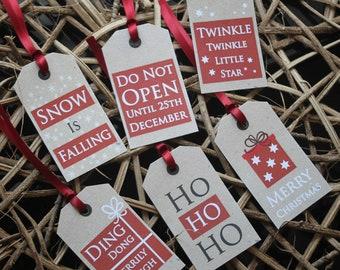 Christmas Gift Tags Festive Kraft Tags Do Not Open Xmas Sayings x 6 Rustic