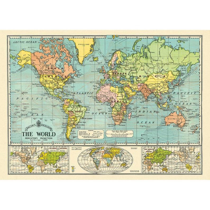 Cavallini Vintage Australia Map Wrap//Poster