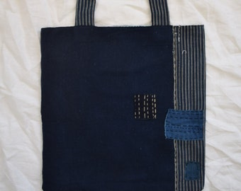 73f0d090b890 Hand stitched Antique Japanese Indigo boro tote bag