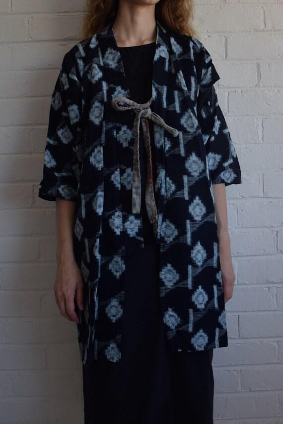 Antique Japanese Kasuri Natural Indigo Kimono Jack