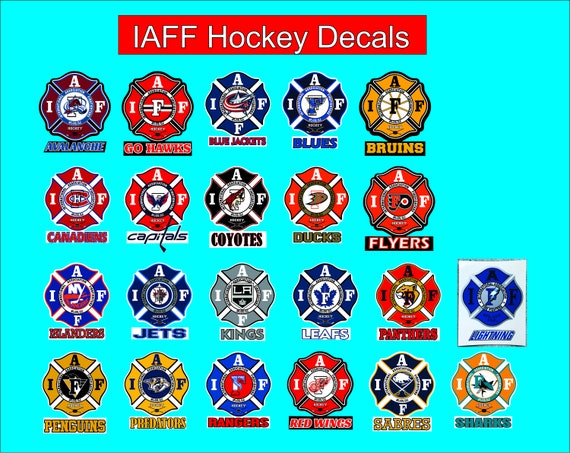 IAFF Hockey Decals for Union Firefighters - Free Shipping