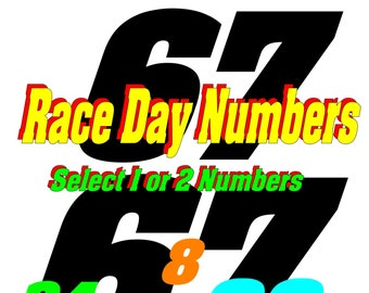 Race Day Number Decals - Select Size & Color