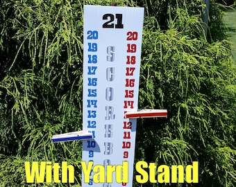 """Cornhole Scoreboard Score Keeper - Red White Blue and Silver - With YARD Stand - 44"""" Tall Assembled"""