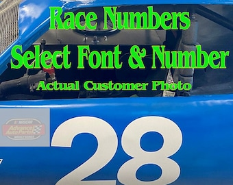 Race Car Numbers Set Vinyl Decals (2x) - Stock - Rally Car - Select Font, Size & Color