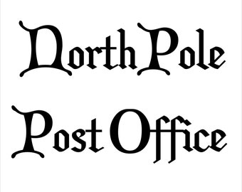 North Pole Post Office Vinyl Door / DIY Sign Decal - Easier Than Paint or Stencils - Select Color
